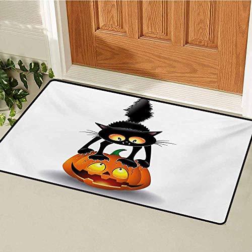 GUUVOR Halloween Commercial Grade Entrance mat Black Cat on Pumpkin Drawing Spooky Cartoon Characters Halloween Humor Art for entrances garages patios W29.5 x L39.4 Inch Orange Black -