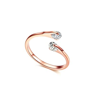 FAIRY COUPLE Rose Gold Color Simulated Diamond Engagement Ring R401 WeCuZy