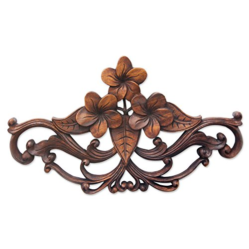 Hand Carved Wood Art Sculpture (NOVICA Floral Suar Wood Wall Sculpture, Brown, 'Frangipani)
