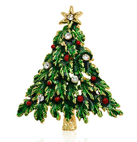 (Akianna Swarovski Element Crystals Christmas Tree Pin Brooch)