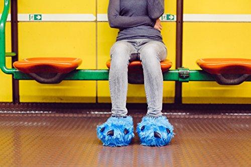 Funslippers®, Chaussons Pattes Griffes Animaux Fantaisie bleu, 33-50 adulte et enfants Testé pour les substances nocives**, avec semelle caoutchouc solide…