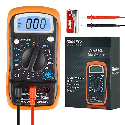 Handheld Battery Tester (WeePro Vpro850L Digital Multimeter DC AC Voltmeter, Ohm Volt Amp Test Meter, Electric Tester Ohmmeter with Diode and Continuity Detector, Backlit Display and Insulated Rubber Case Kickstand)