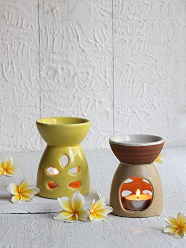 Handmade Ceramic Petite Design Oil Burners Oil diffuser Aroma - Set of 2 for Aromatic Fragrance (Top 10 Halloween Facts)