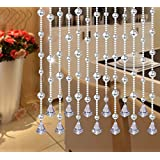 "Fushing 5Pcs 59"" Faux Crystal Garland Wedding Bead Strands With Free Pendants For Home Party Wedding Christmas Decoration (Clear)"