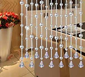 Fushing 5Pcs Crystal Garland, Crysal Bead Strands Curtains for Door, Window, Screen, Divider, Home, Party, Wedding, Christmas Decoration (Clear)