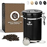 OPUX Coffee Canister | Coffee Jar Airtight, Coffee Bean Container with Vacuum Seal | Stainless Steel Coffee Ground Vault Jar with One Way CO2 Release and Scoop (Large 21OZ Matte Black)