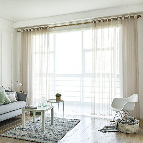 yunt 1pezzi tenda finestra set 20%-Trasparente Moderna & semplice Tende Tende Soggiorno con Arricciata nastro bello–Decorativa, 100* 250cm A:beige