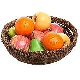 Hand Woven Brown Seagrass Round Fruit Display Storage Basket Bowl/Centerpiece Tray Holder