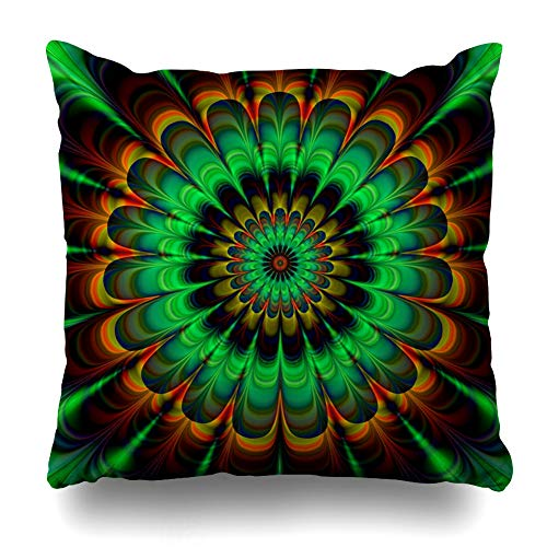 - Ahawoso Throw Pillow Cover Digital Brown Bloom Fractal Abstract Flower Verdigris in Digitally Colors Rendered Pattern Blossom Home Decor Pillowcase Square Size 16