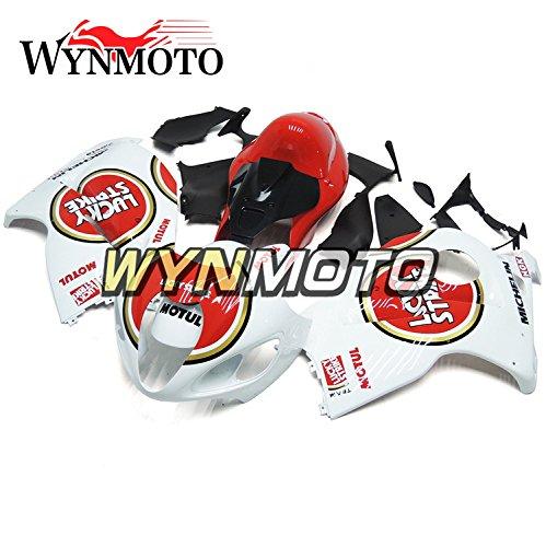WYNMOTO 赤と白の外装部品セットスズキ鈴木 GSXR1300 GSX-R 1300 97-07 1997 2007 年カウパネルを適応   B077GQGRR7