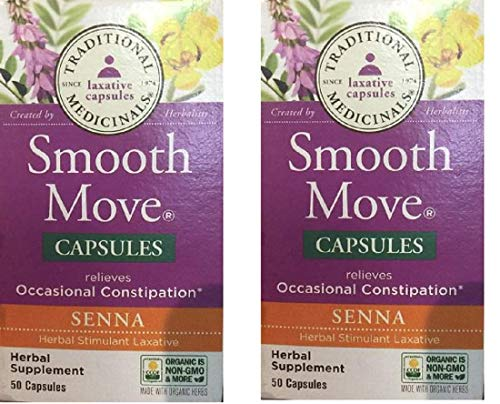 Traditional Medicinals Smooth Move Senna 50 caps,(Pack of 2) (Capsules Move Smooth)