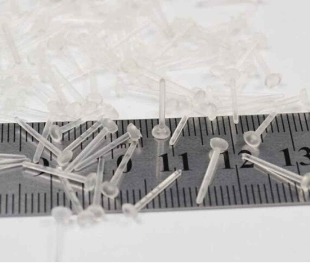 YOYOSTORE 100 Lot 3mm X 12mm Plastic Clear Invisible Plastic Blank Earring Pins Post Back Stud Findings Pad Nickel Free Flat Base with Posts Studs Findings