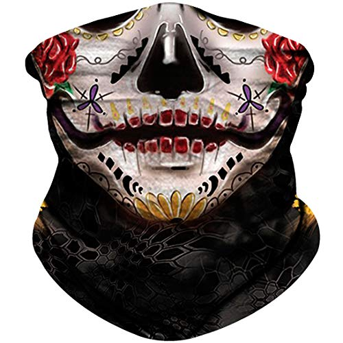 NTBOKW Skull Face Mask Bandana for Sun Dust Wind UV Protection Mask for Motorcycle Riding Fishing Hunting Festival Outdoor Summer Seamless Mask Breathable Thin 3D Skeleton Mask for Men Women ()