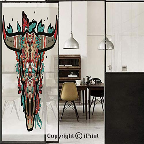 Western 3D Decorative Film Privacy Window Film No Glue,Frosted Film Decorative,Buffalo Sugar Mexican Skull Colorful Ornate Design Horned Animal Trophy Decorative,for Home&Office,17.7x59Inch Turquoise
