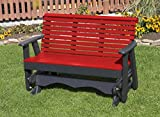 5FT-BRIGHT RED-POLY LUMBER ROLL BACK Porch GLIDER Heavy Duty EVERLASTING PolyTuf HDPE - MADE IN USA - AMISH CRAFTED