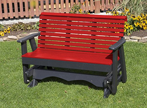 (Ecommersify Inc 5FT-Bright RED-Poly Lumber ROLL Back Porch Glider Heavy Duty Everlasting PolyTuf HDPE - Made in USA - Amish Crafted)