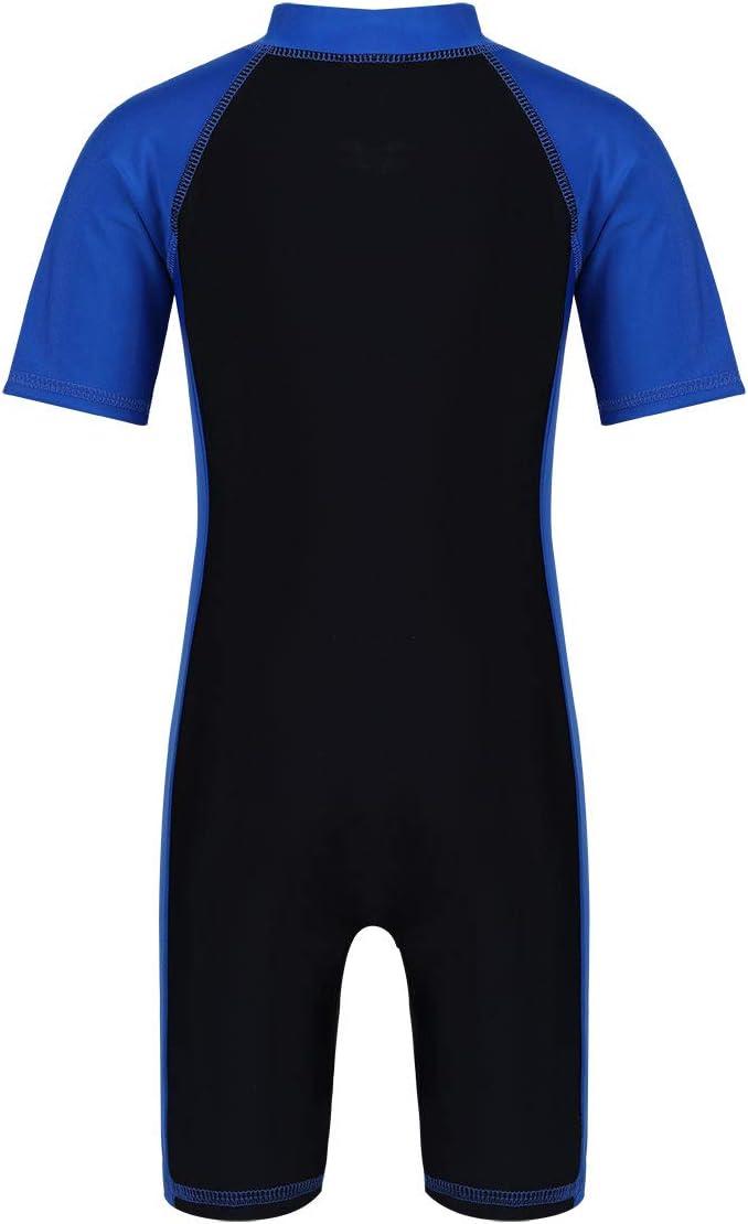 TiaoBug Kids Boys Girls Short Sleeve Swimsuit Zippered Rash Guard Sun Protection Shorty Wetsuit UPF 50+