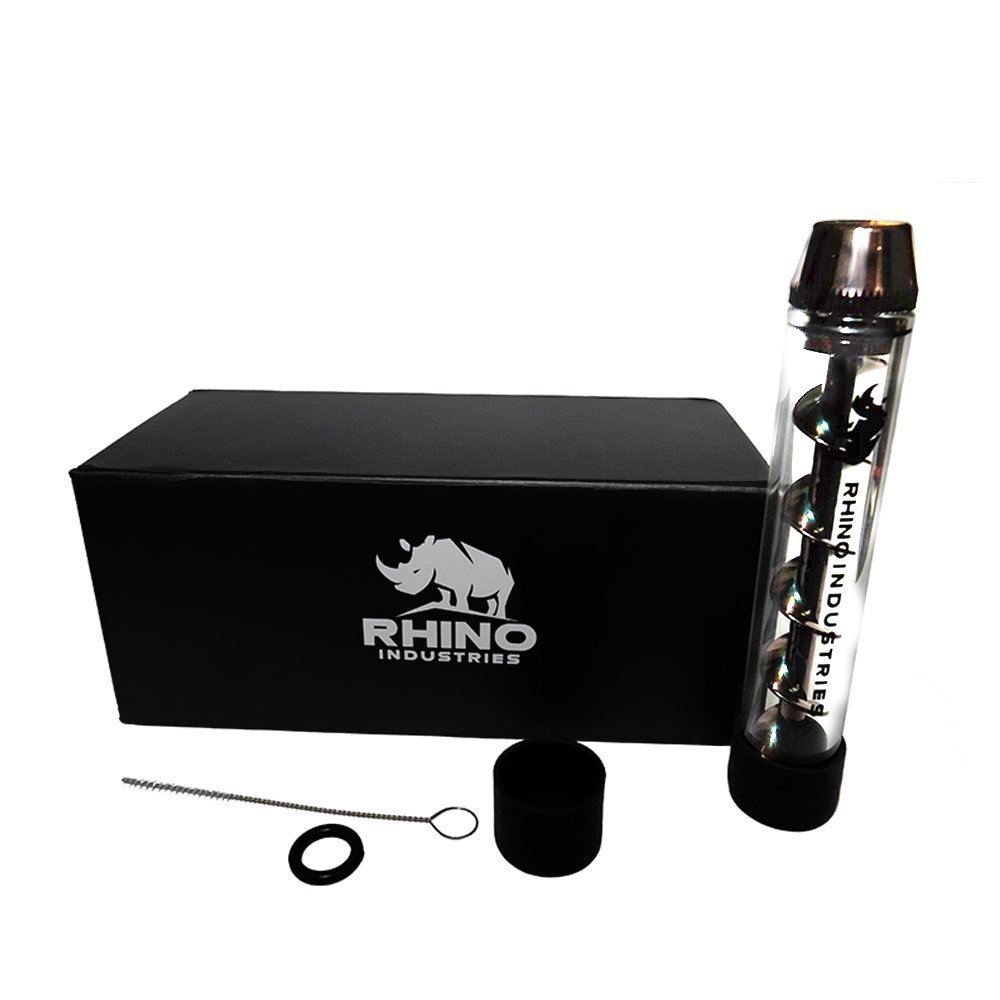 Genuine Rhino Industries, Twisty Glass Blunt (Gunmetal), with Mechanical Adapter for Dried Herbs, Tea and Spices.