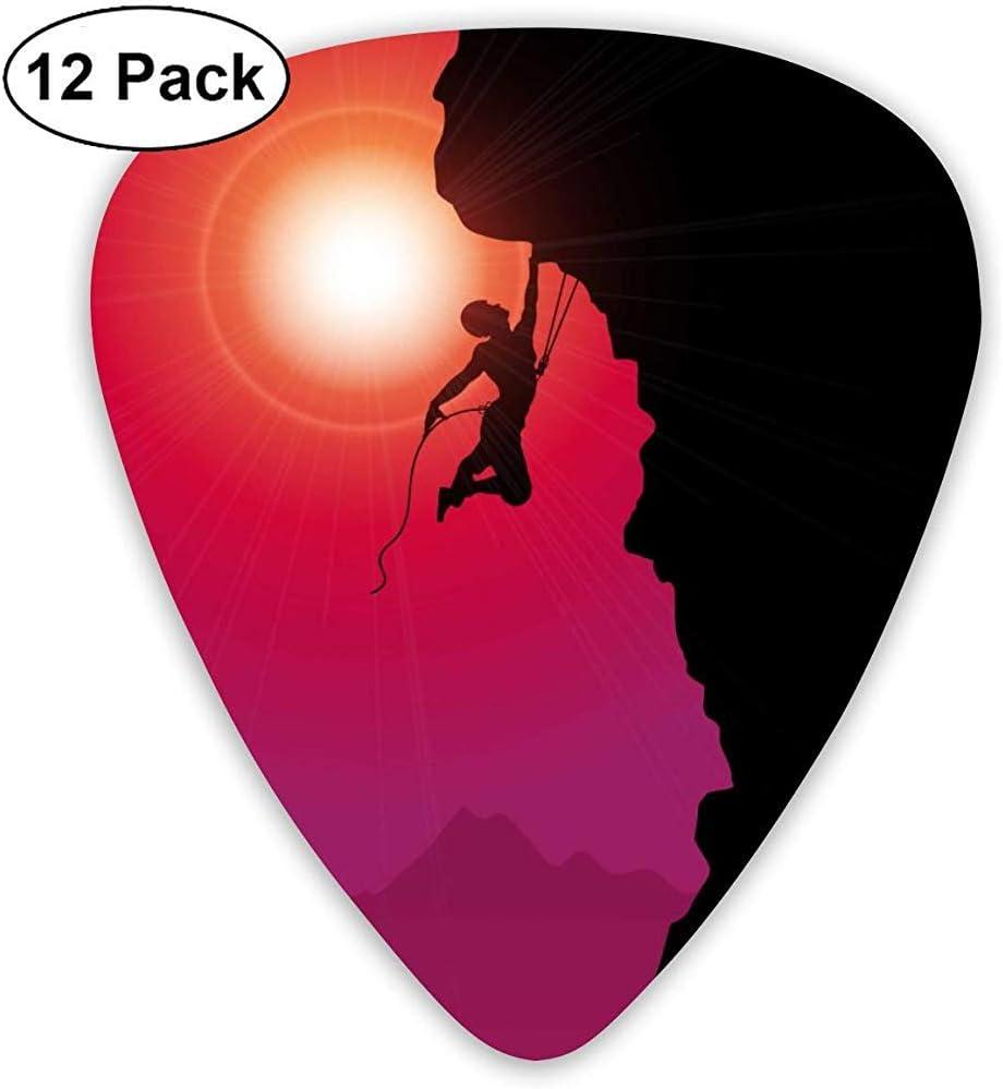 Red Sun Rock Climbing Guitar Picks Set 12 púas de ukelele, que incluyen 0.46 mm, 0.71 mm, 0.96 mm guitarra acústica Pick and Pick Box