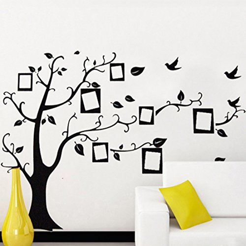 Black Photo Frame Tree Birds Wall Decal Home Sticker Paper Removable Living Room Bedroom Art Picture DIY Mural Girls Boys Kids Nursery Baby Decoration + Gift Colorful Butterflies