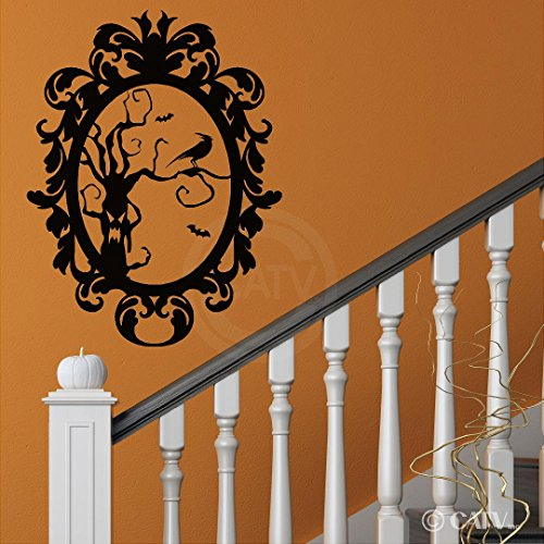 Halloween Frame #8 Scary Tree with Crow portrait vinyl lettering decal home decor wall art sticker (Large 22x29)