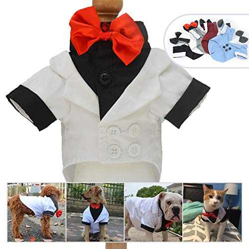 Lovelonglong Pet Costume Dog Suit Formal Tuxedo with Black Bow Tie for Small Size Dogs Miniature Schnauzer Clothing White L ()
