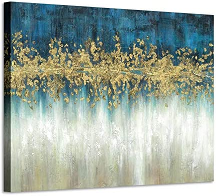 Abstract Modern Wall Art Painting: Gray and Navy Blue Canvas Picture Gold Foil Artwork