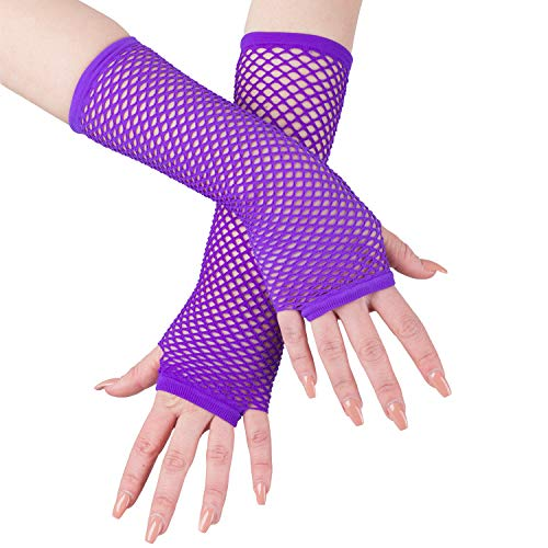 Fishnet Gloves - Long Fishnet Gloves - 80s Accessories - Mesh Fingerless Gloves by Funny Party Hats -