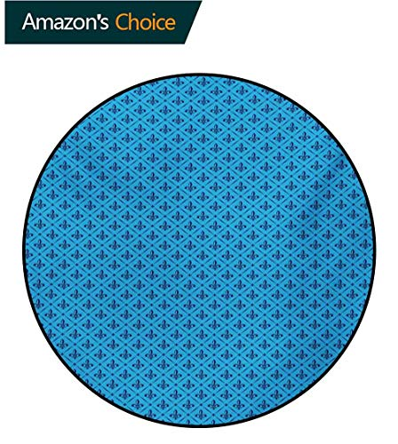 - RUGSMAT Fleur De Lis Super Soft Circle Rugs for Girls,Diagonal Lines Rectangle Frames Traditional Abstract Lily Shape Monochrome Baby Room Decor Round Carpets,Round-55 Inch Blue Dark Blue