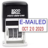 Cosco 2000 Plus Self-Inking Rubber Date Office Stamp with E-MAILED Phrase Blue Ink & Date RED Ink (Micro-Dater 160), 12-Year Band
