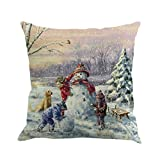 GBSELL Pillow Cover Christmas Snowmen Pillow Case Sofa Throw Cushion Cover Home Fall Decor,45cm45cm (A)