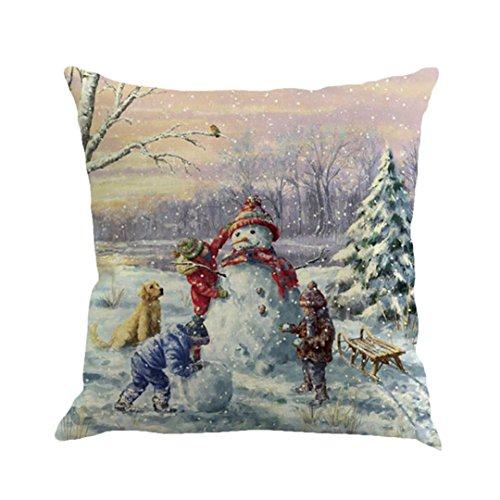 (GBSELL Pillow Cover Christmas Snowmen Pillow Case Sofa Throw Cushion Cover Home Fall Decor,45cm45cm (A))