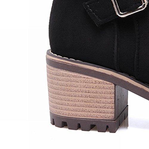 Mee Shoes Damen chunky heels Nubukleder Plateau Stiefel Schwarz