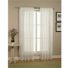 Elegant Comfort 2 Piece Solid White Sheer Window Curtains/Drape/Panels/Treatment Size 60-Inch x 84-Inch