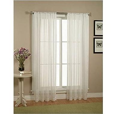 Elegant Comfort 2-Piece Solid White Sheer Window Curtains/drape/panels/treatment size 60 x84