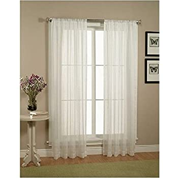 Elegant Comfort 2 Piece Solid White Sheer Window Curtains Drape Panels Treatment