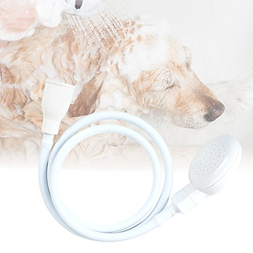 Shower Hose Portable (Pevor Pet Dog Cat Shower Head Spray - White Portable Pet Shower Bath Handheld Showerhead Hose Bath Tub Sink Faucet Attachment Washing Indoors with 1.1-Meter)