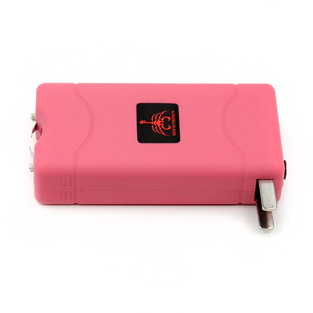 Red Scorpion Mini Stun Gun 800-500 Million Volts Rechargeable with LED Tactical Flashlight (Pink)