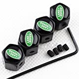 CHAMPLED NEW (4PC) LAND ROVER LOGO METAL BLACK WHEEL TIRE AIR VALVE STEM CAPS DUST COVER