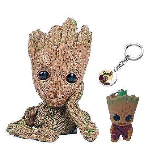 KRUCE 3 Pack Baby Groot Maceta Pot Pen Contenedor con 2 Piezas Groot Llavero Colgante, Guardianes del Galaxy Tree Man Macetas con Agujero, Figuras de ...