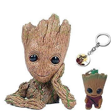 e8d43d65a2c4 KRUCE 3 Pack Baby Groot Maceta Pot Pen Contenedor con 2 Piezas Groot  Llavero Colgante, Guardianes del Galaxy Tree Man Macetas con Agujero,  Figuras de Acción ...