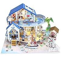Spilay DIY Miniature Dollhouse Wooden Furniture Kit,Handmade Mini Modern Villa Model with LED Light & Music Box ,1:24 Scale Creative Doll House Toys for Children