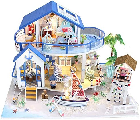 Spilay Dollhouse Miniature with Hawaii Impression Tc4 Dust Cover Music Box