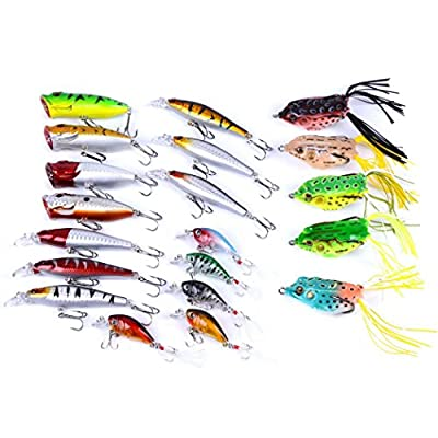 Aorace 20pcs Fishing Lures Kit Mixed including Minnow Popper Crank and Plastic Soft Lures Frog Lures For Saltwater Freshwater Trout Bass Salmon Fishing from Aorace