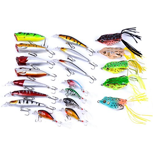 Aorace 20pcs Fishing Lures Kit Mixed Including Minnow Popper Crank and Plastic Soft Lures Frog Lures for Saltwater Freshwater Trout Bass Salmon Fishing