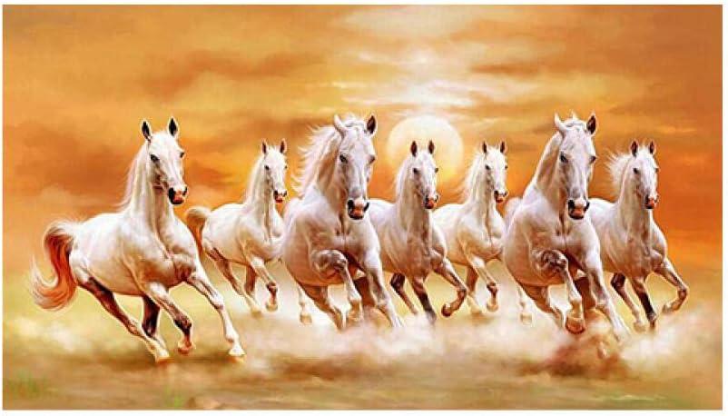 XINQIN Pintura en lienzo Animales modernos Carteles e impresiones Siete caballos corriendo a través de la imagen en la pared para la decoración del hogar de la sala de estar-No_Frame_50x100_cm_XQ-141