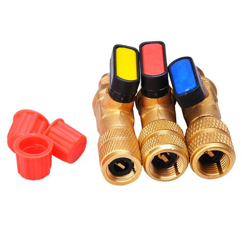 Yescom 3pcs Set Color Coded R410a Straight Ball Valves for Ac Charging Hoses Connect Manifold