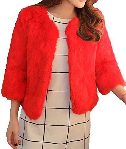 femmes manteau Helan reel fourrure de lapin Rouge court rex BwxqzS1