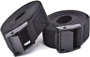 RIO Direct 2PCS Tie Down Straps, Heavy Duty Lashing Straps Adjustable Cam Buckle Tie-Down Straps for Motorcycle, Cargo, Trucks,Trailer,Luggage- 9.8' x 1