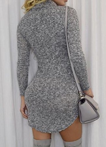 Womens Neck Assymetry Sleeve Coolred Dresses Grey Solid Long High dvAfUwx